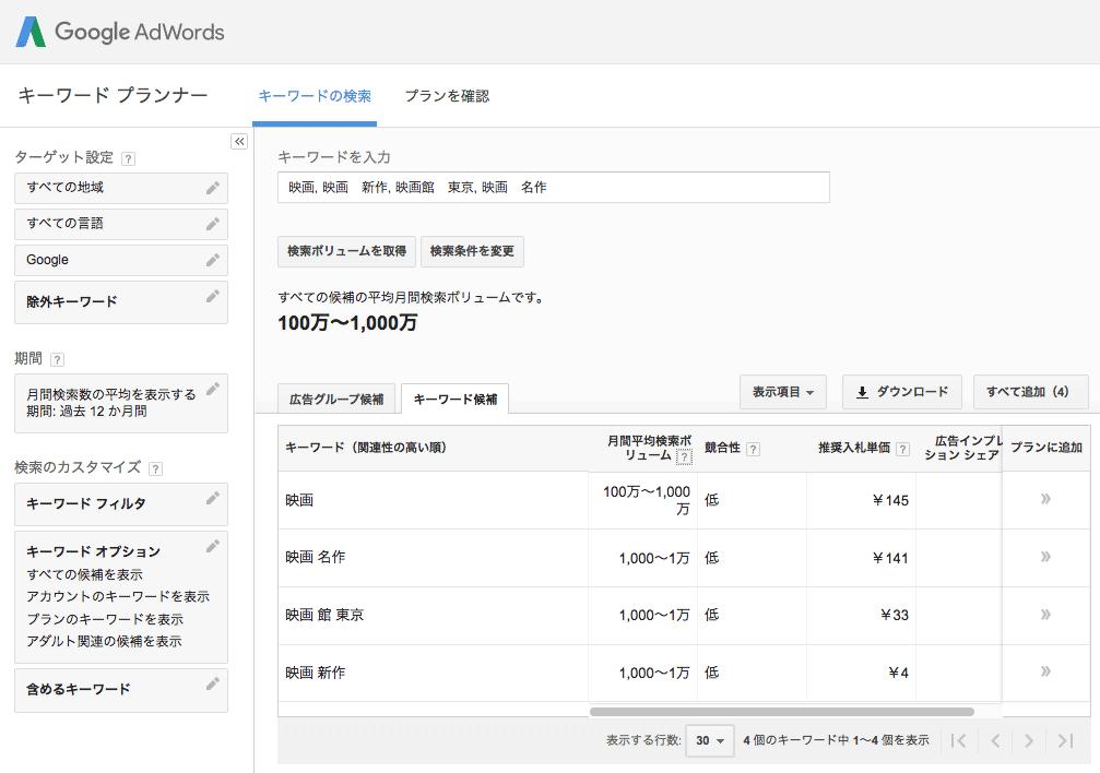 キーワードプランナーでいくつかキーワードを入力した例